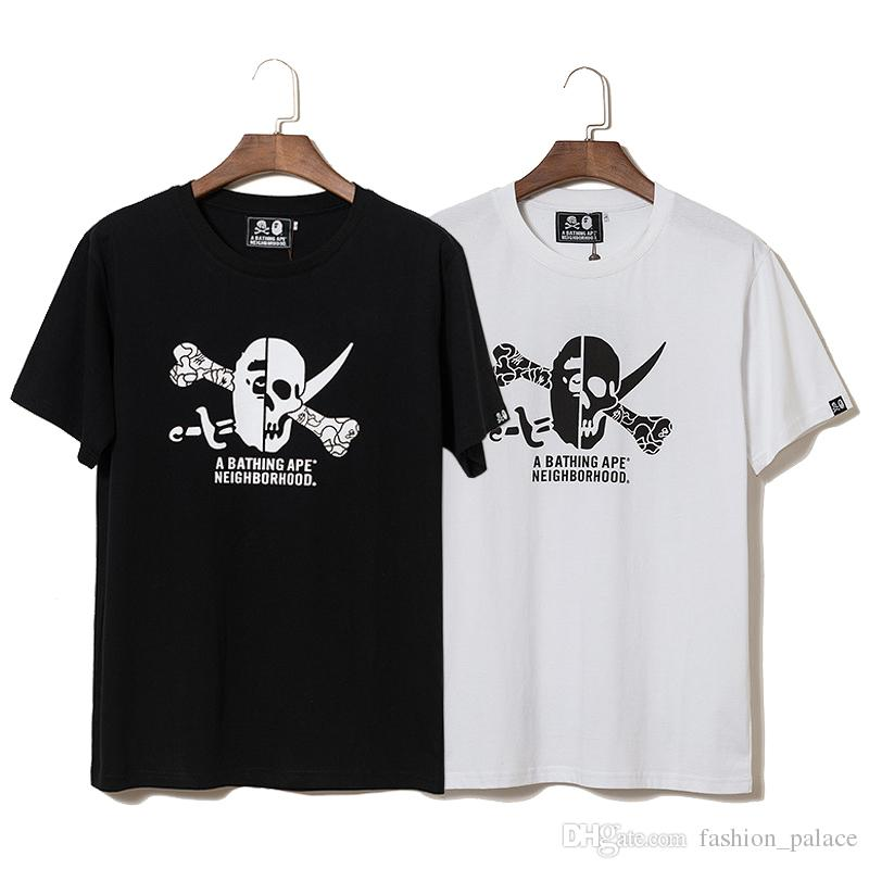 d59e0cdbd7a New Neighborhood T Shirt Jolly Roger Skeleton Printed White Black Cotton Tee  Men Summer Hip Hop Shirts Short Sleeve TNI0405 Mens Shirts Shirts For Men  From ...