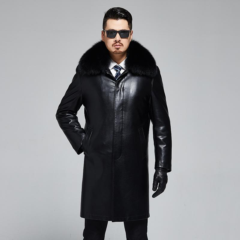1919 New Fashion Winter Clothing Men's Leather Fur Overcoat Real Fox Fur Collar Long Rex Rabbit Fur Mens Trench
