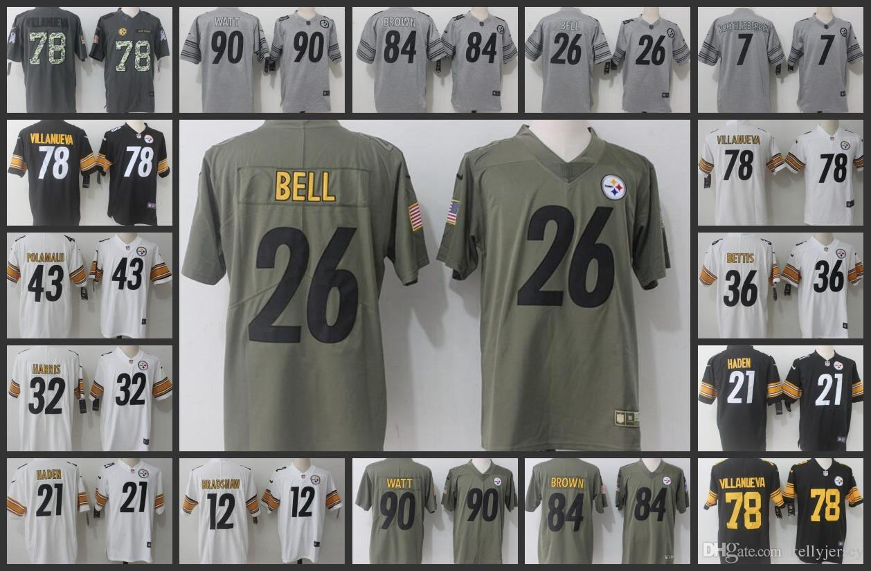detailing b82d1 4eaae Pittsburgh Men Steelers Jersey #26 Le'Veon Bell 78 Alejandro Villanueva 90  T.J. Watt 84 Antonio Brown Women Youth Football Jerseys