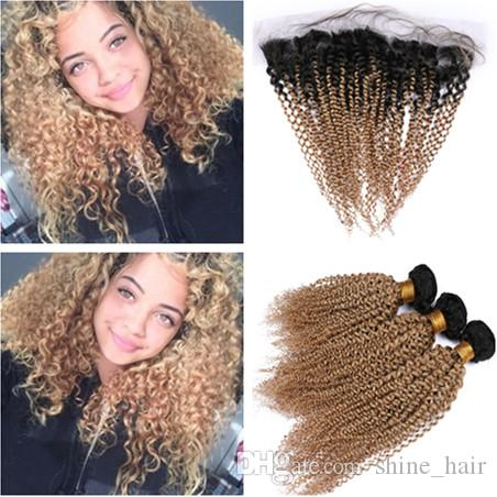 Virgin Peruvian Human Hair Kinky Curly Honey Blonde Ombre 3Pcs Bundles with 13x4 Lace Frontal Closure #1B/27 Light Brown Ombre Weaves
