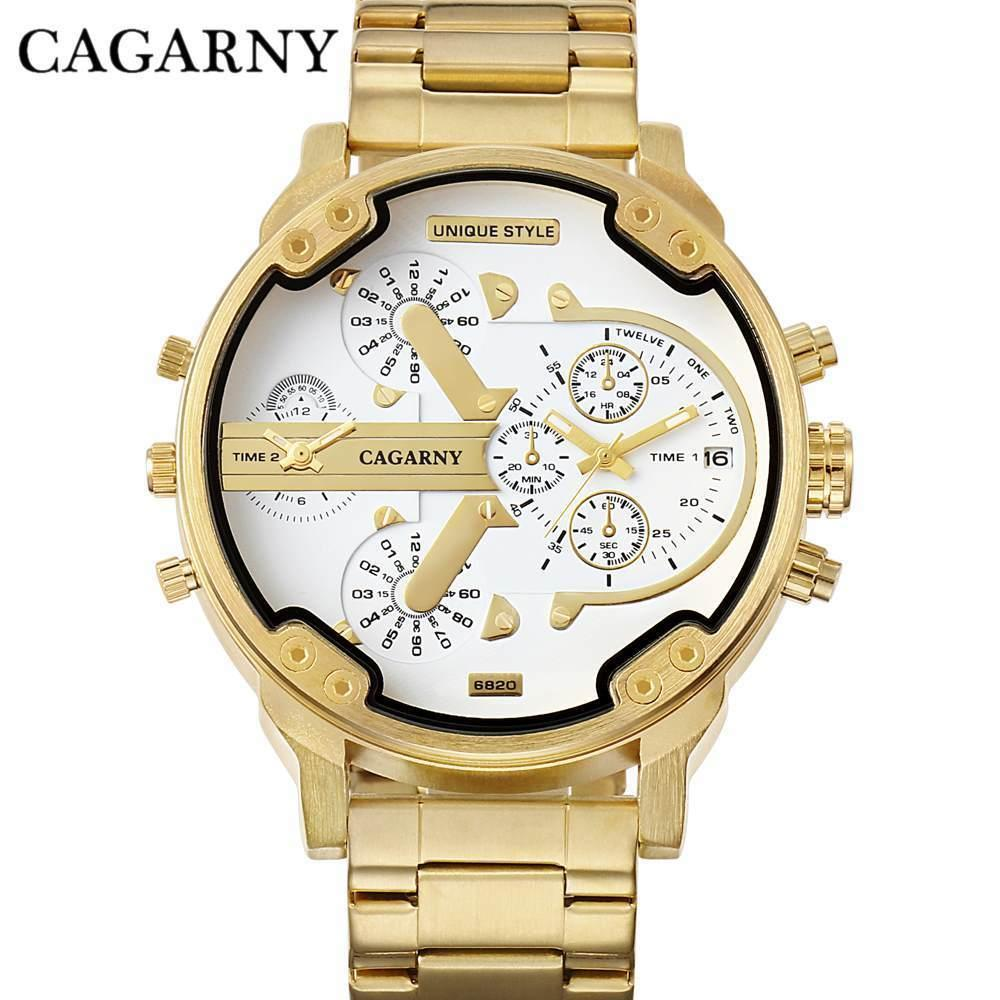 Cagarny Brand Luxury Watch Men Gold Steel Bracelet Strap Quartz Watches Good Quality Male Wristwatches Fashion Brand Natate Y19061905