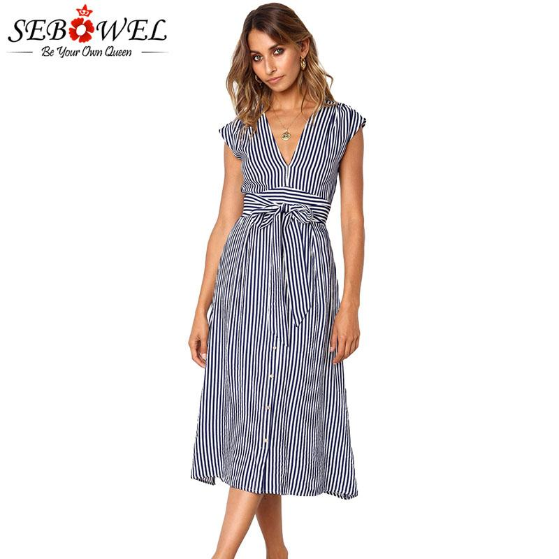 37414a3fdd2 SEBOWEL Summer Stylish Striped Midi Dress Woman Casual Party 2019 Fashion  Female Sleeveless Prague Dresses Clothes Size S XL Evening Wear Dresses  Cute ...