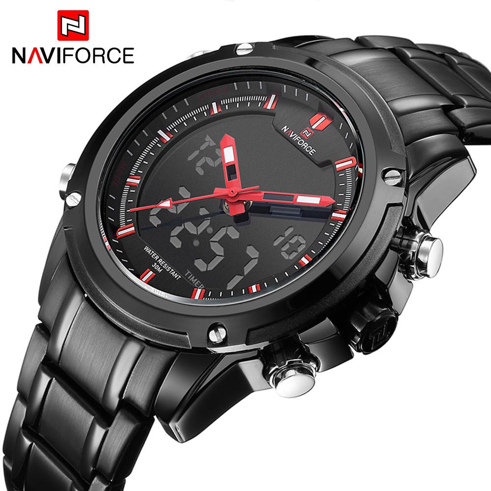 160987d467d NAVIFORCE Top Luxury Brand Men S Quartz Watches Full Steel LED Analog  Digital Military Sport Watch Relogios Masculinos Clock Men Waterproof  Watches Couple ...