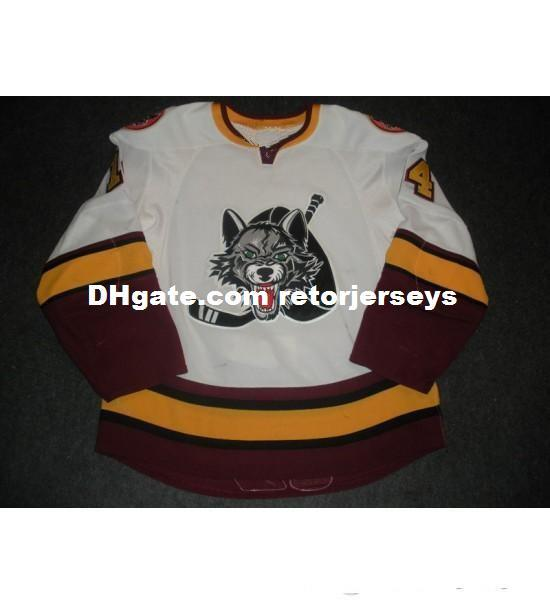 New 14 Matt Anderson Mens Womens Kids AHL Chicago Wolves 7 Chelios 100% Embroidery Custom Any Name Any No. Ice Hockey Jerseys Goalit Cut Hot