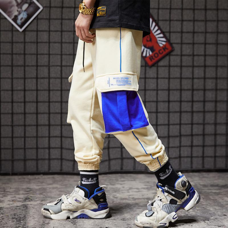 Fashion-big pocket nine-minute pants trend boys ins net red trousers sports pants Hallenwei pant tide mens designer sweatpants