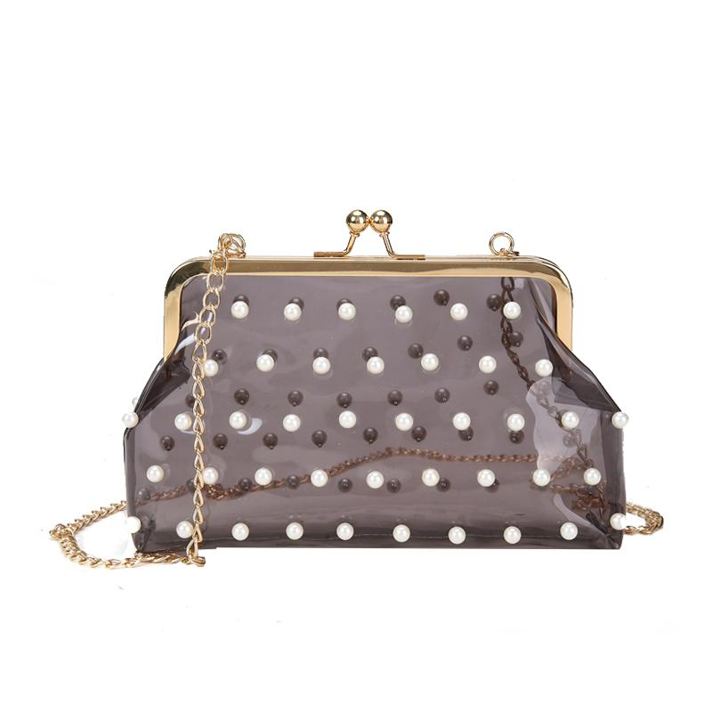 Clear Transparent Holographic Laser Bag Gold Clasp Pearls Women Handbag Summer Beach Tote Bags Chain Ladies Crossbody Bag