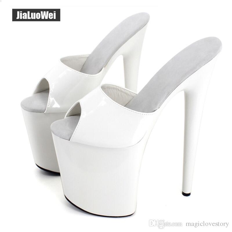 1d51121d8286 Women Slippers Sexy Fetich Exotic 20cm Extreme High Spike Heel +9cm Platform  Summer Heels White Shiny Sandals Shoes Show for Unisex Sandals Women Summer  ...