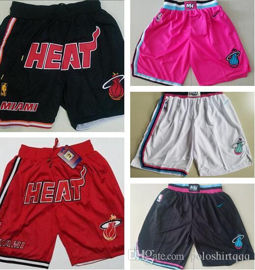 outlet store e4ba5 f8c68 Miami Men Heat JUST DON Shorts Hip Hop Motion Wind Shorts Stripe Network  Lining Split Joint Sports Pants Man BLACK Blue Basketball Pant