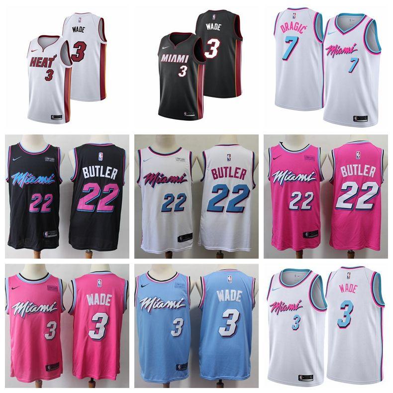 promo code 6f628 b53f6 Miami Mens Heat 22# Jimmy Butler Jersey 3# Dwyane Wade Jersey 21# Hassan  Whiteside 7# Goran Dragic Jersey Pink Black White Red Jerseys