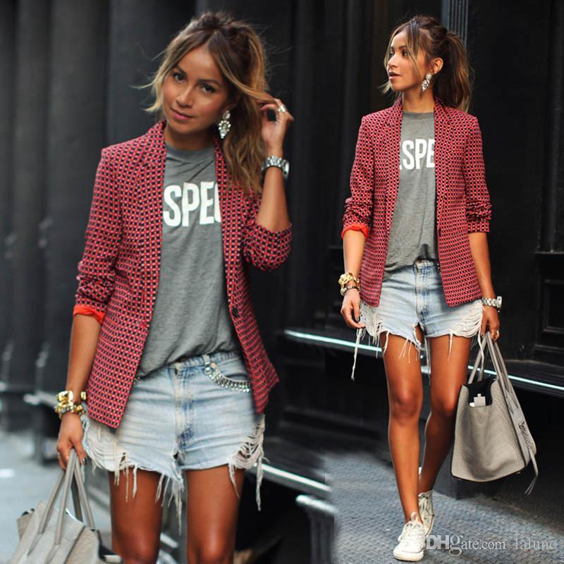 Ladies Red Plaid Blazer Fashion Casual Jacket Long Sleeve Lapel Small Jacket Slim One Button Suit Outerwear Blazer Jaqueta