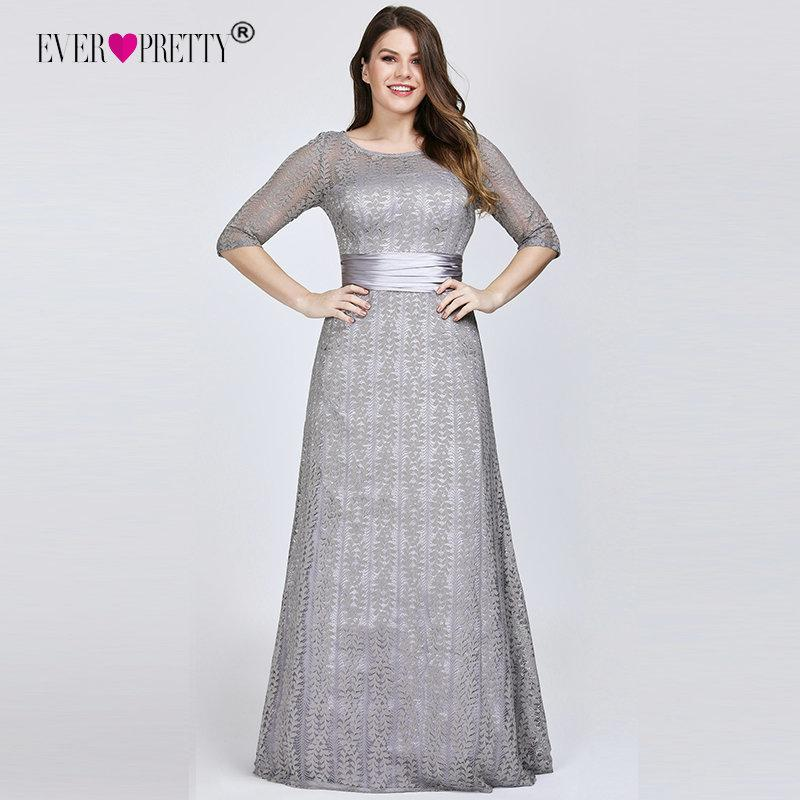 340dd18965 Elegant Plus Size Evening Dresses Long 2019 Ever Pretty Ep08878gy A-line  Lace Half Sleeve Grey Formal Party Gowns For Wedding Y19042701