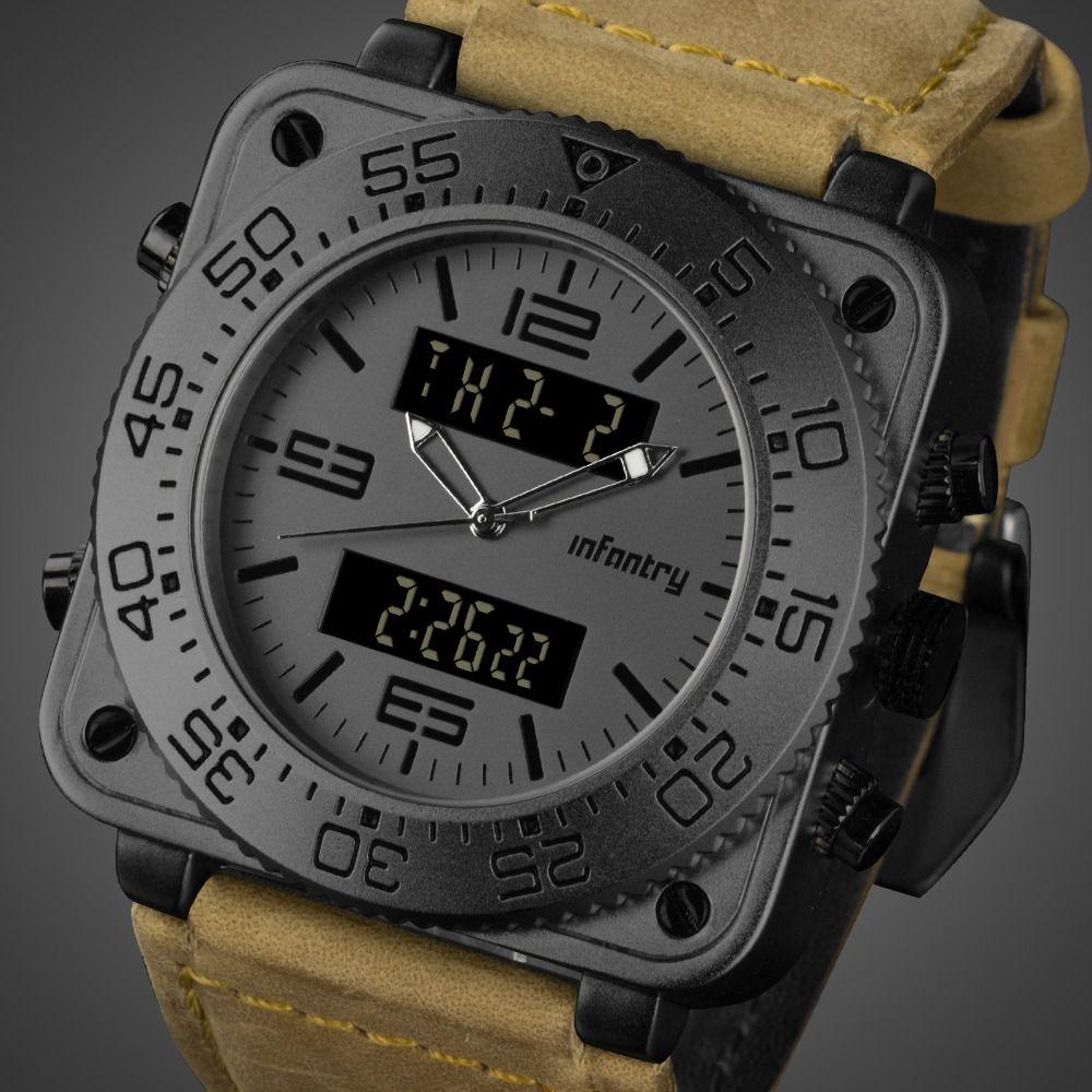 b96704c183d Compre Relógios De INFANTARIA Mens Top Marca De Luxo Homens Relógio  Quadrado De Campo Tático Relógios De Pulso De Couro Para Homens Relogio  Masculino De ...