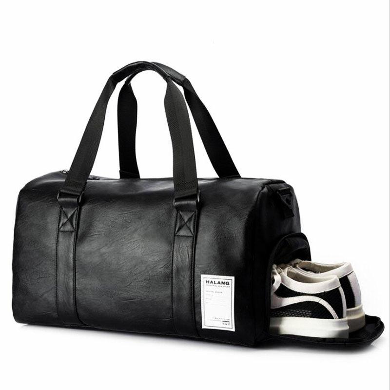3ed7ee240969 Black Gym Bag Men Leather Duffle Bag Women Independent Shoe Storehouse  Sport Crossbody PU Travel Bags