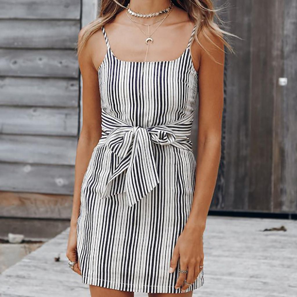 06e3a27ee 2019 New Spring Fashion Sexy Women Fashion Plus Size Striped Strapless  Sleeveless Bandage Camis Loose Ladies Dresses For Female Womens Long T Shirt  Dress ...