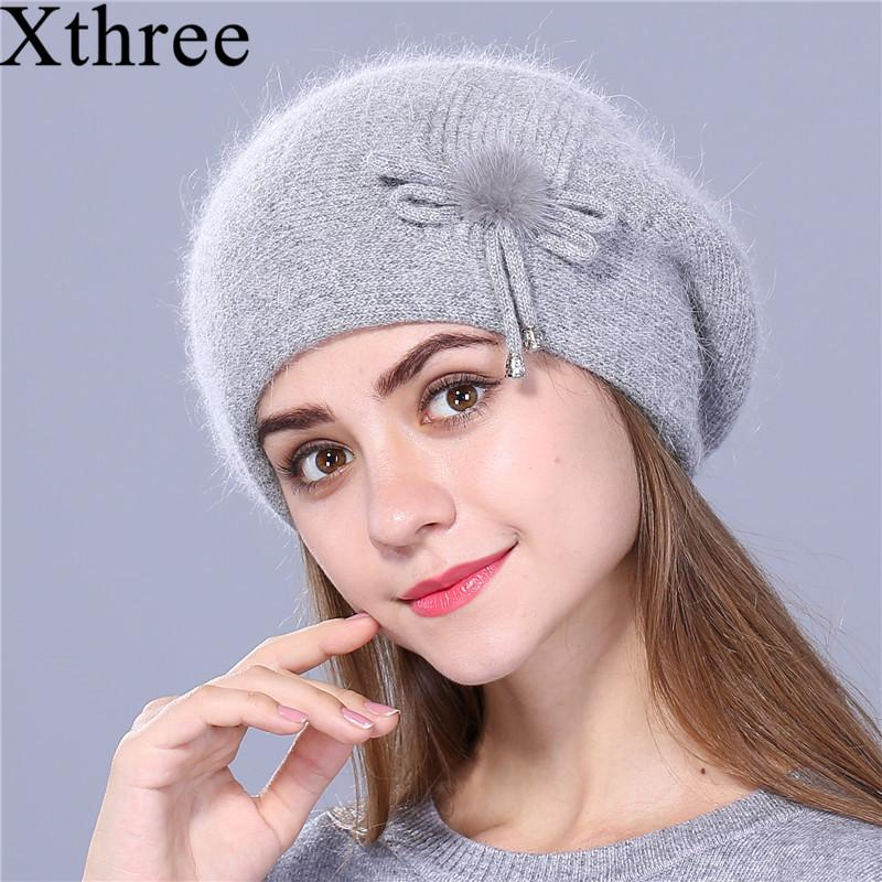 4359360555d Xthree Winter Beret Hat For Women Knitted Hat Rabbit Fur Beret For Girl  Solid Colors Fashion Lady Cap Good Quality S18120302 Crazy Hats Mens  Beanies From ...