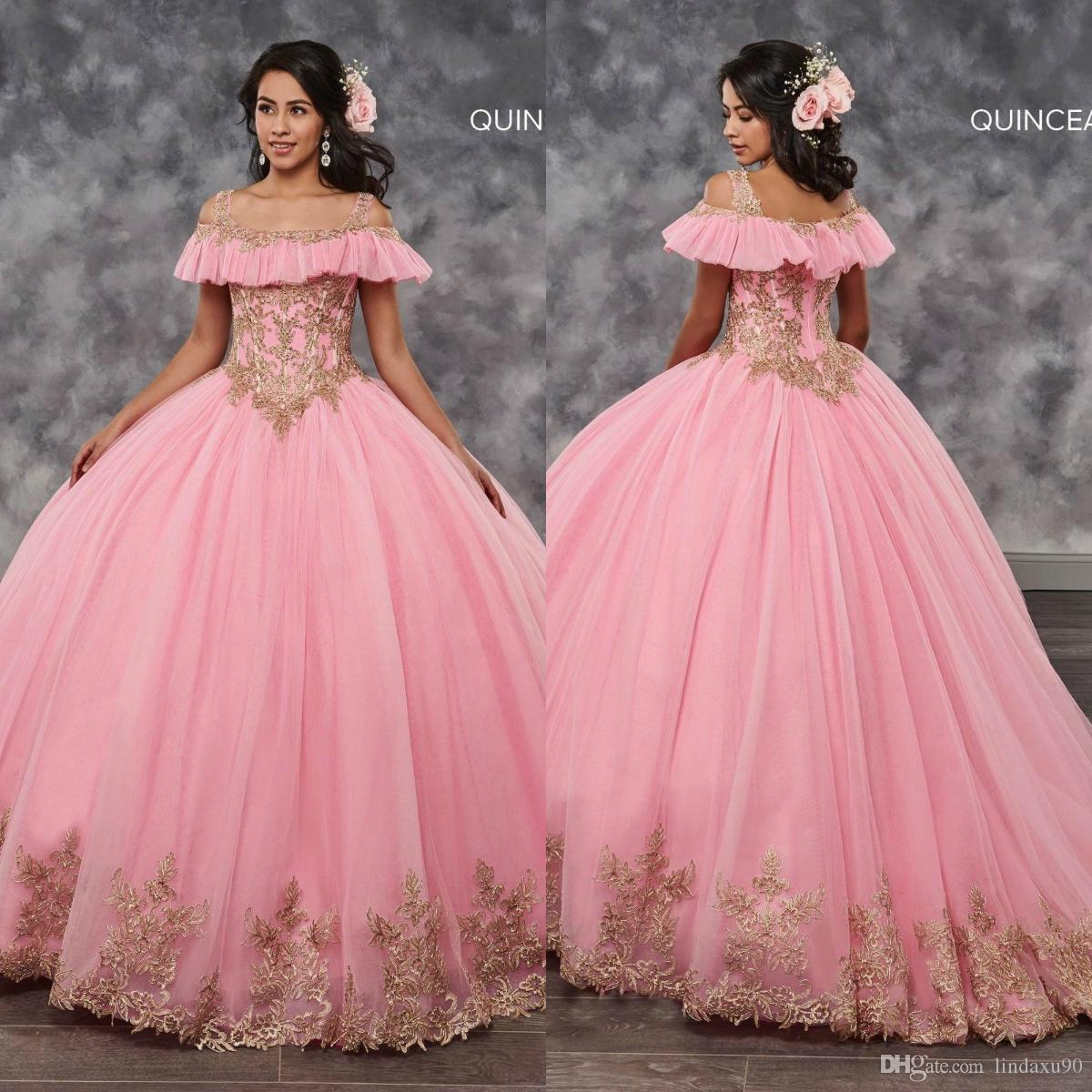 2998d9e890670 Pink Ball Gown 2019 Quinceanera Dresses Beaded Crystal Lace Appliqued Sweet  16 Dresses Ruffles Tulle Prom Dresses Plus Size