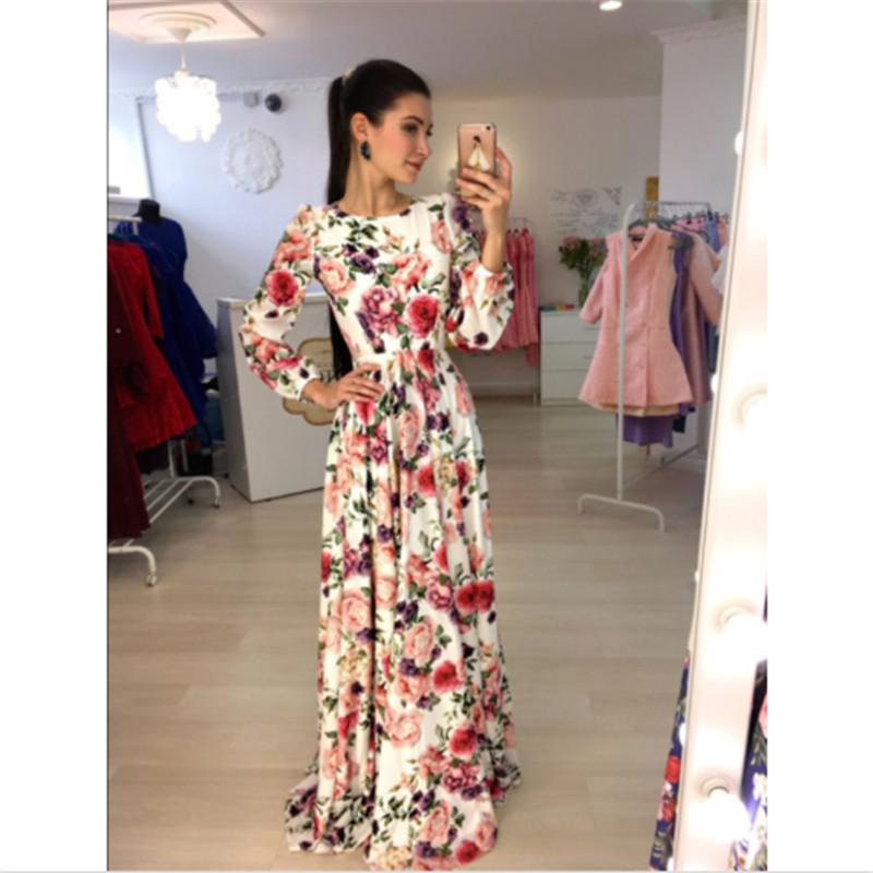 765984108622d New Arrival Women Maxi Dresses Round Neck Long Sleeve Womens Fashion Floral  Long Party Dress Y190123