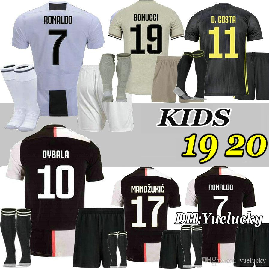timeless design d4d0d 07897 RONALDO 19 20 kids kits HIGUAIN DYBALA home soccer Jersey JUVENTUS POGBA  CUADRADO MANDZUKIC CR7 2019 2020 Away child Football Shirts