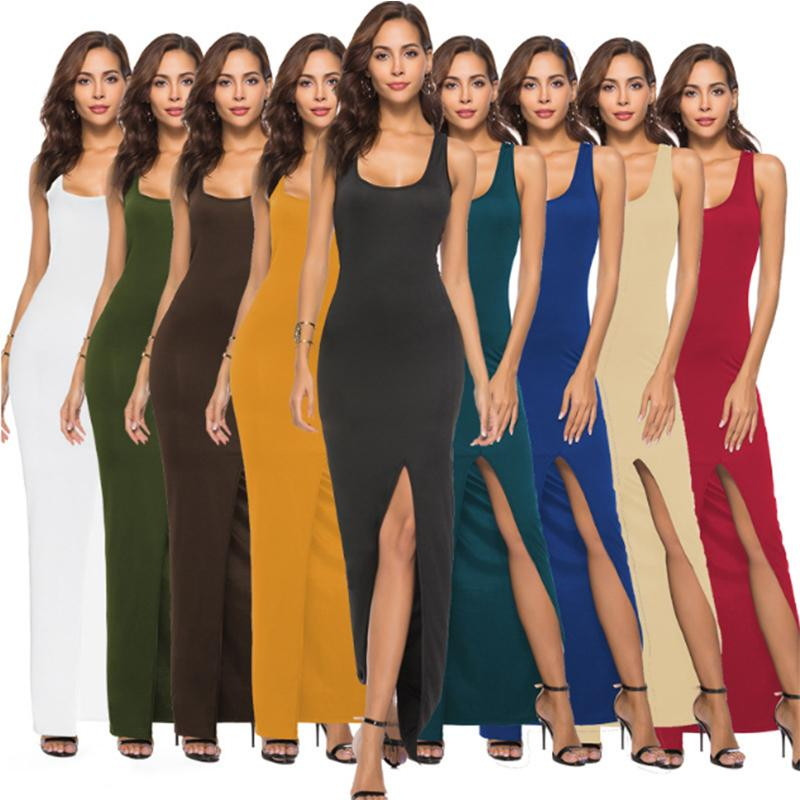 Sexy Fashion Sleeveless Robes Femme Summer Casual Maxi Dress Womens Casual  Party Dresses Long Split Bodysuits Vestidos WS8985U Trendy Dresses Dress  Style ... 4da72e848fa