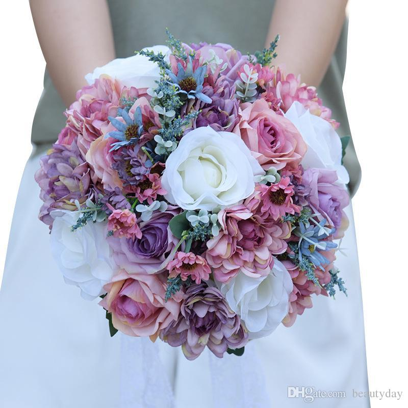Artificial Wedding Bridal Bouquets Handmade Popular Pinterest Silk Flowers Country Wedding Supplies Bride Holding Brooch Engagement Beach