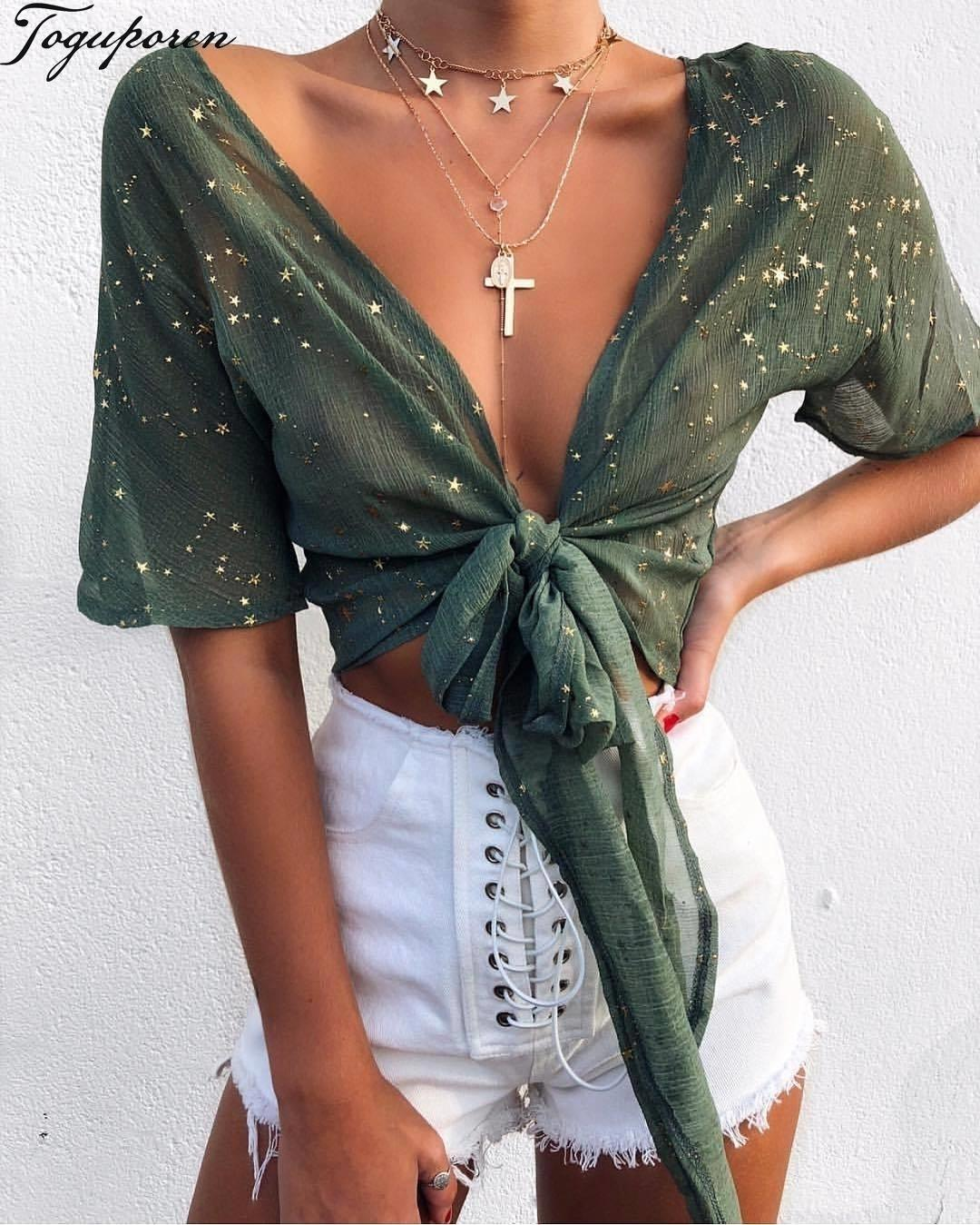 Women Summer Shiny Star Gold Print Blouse Shirt Sexy V Neck Long Sleeve Summer Crop Tops Bandage Bow Stylish Women Tops Y19043001