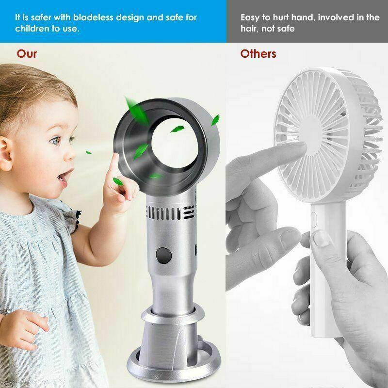 360 Degrees Portable Bladeless Hand Held Cooler Mini USB No Leaf Handy Air Fan