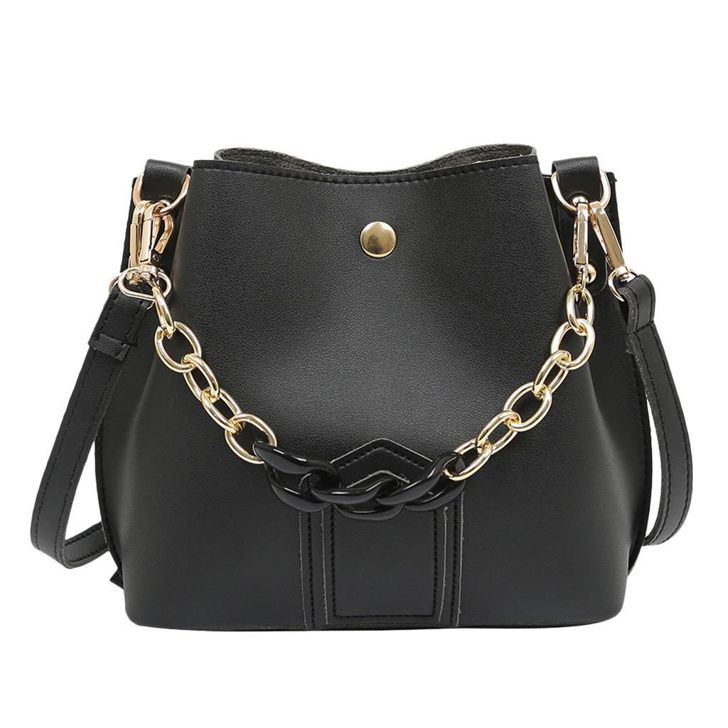 a61c50206fd3 2019 Fashion Women bag with Chain Strap Bucket Bag Women PU Leather  Shoulder Bags Brand Designer Ladies Crossbody messenger Bags