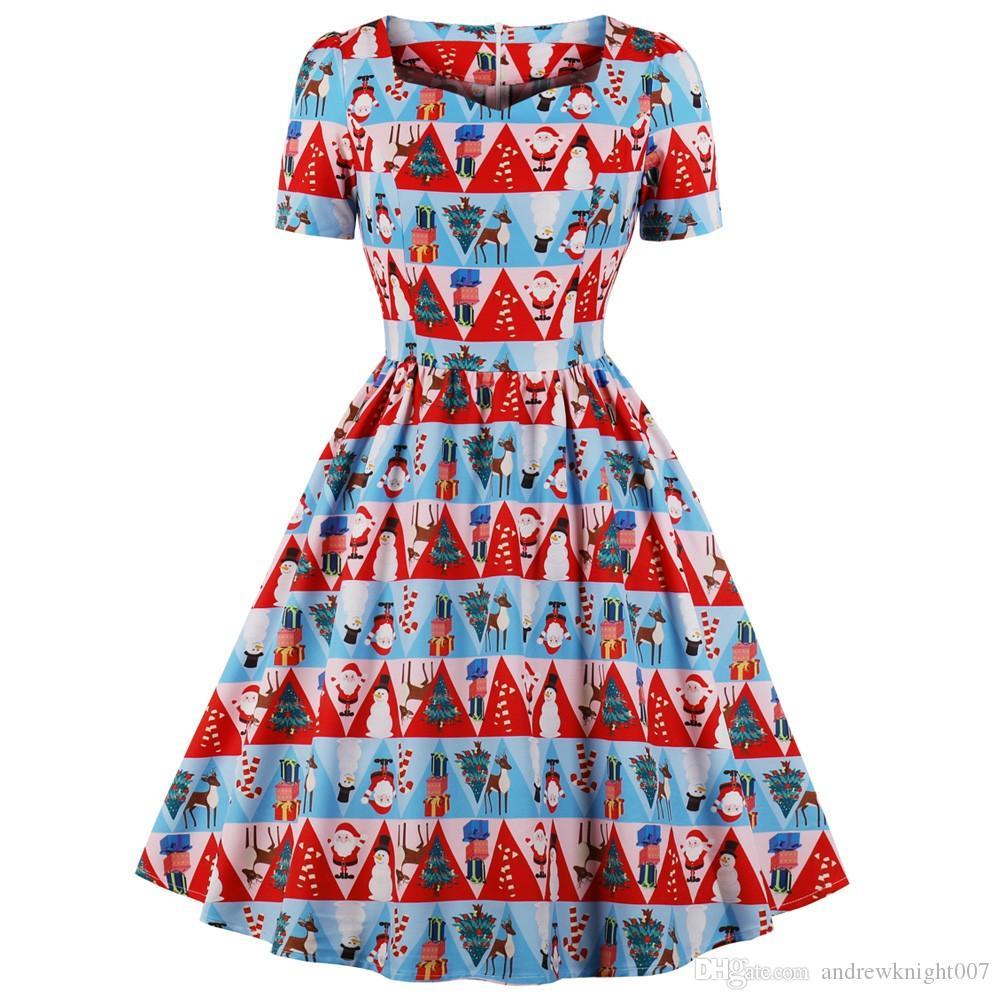 e41e67303fe54 Plus Size Christmas Print Vintage Dress Sweetheart Neck Short Sleeve Women  Party Dresses Retro Rockabilly Vestidos Robe DK3079MX Satin Dresses Dresses  For ...