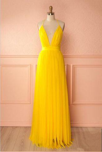 Sexy Deep Low Cut V Neck Long Yellow Maxi Dresses Floor Length Simple Prom Dresses with Criss-cross Back Pageant Gowns Custom Made