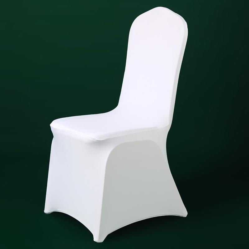 100PCS Universal Polyester Spandex White Chair Cover Wedding Party Banquet Hotel Dinning Celebration Ceremony Decor Chair Cover