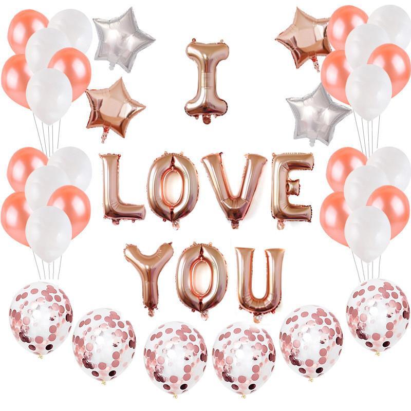 Grosshandel 45 Teile Satz Kreative Valentinstag Luftballon Happy Birthday Party Haus DIY Dekoration Liebe U Folienballons Hochzeit Festival Versorgung