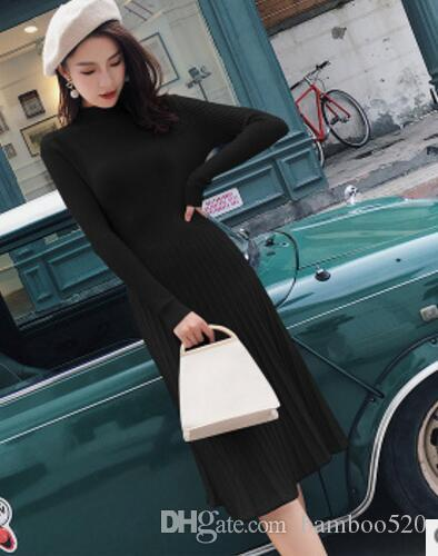 055f40be11e60 Semi-high-necked a-line knit dress for women new slimming and thickening  mid-length knee-length wool dress in autumn and winter 2018