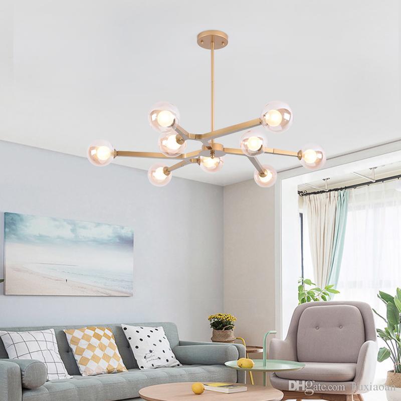 Pendelleuchte Indoor Wohnzimmer Dekoration Leuchten Esszimmer Pendelleuchte  Like Branch Schwarz / Gold Mit G9 LED Glühbirnen ems