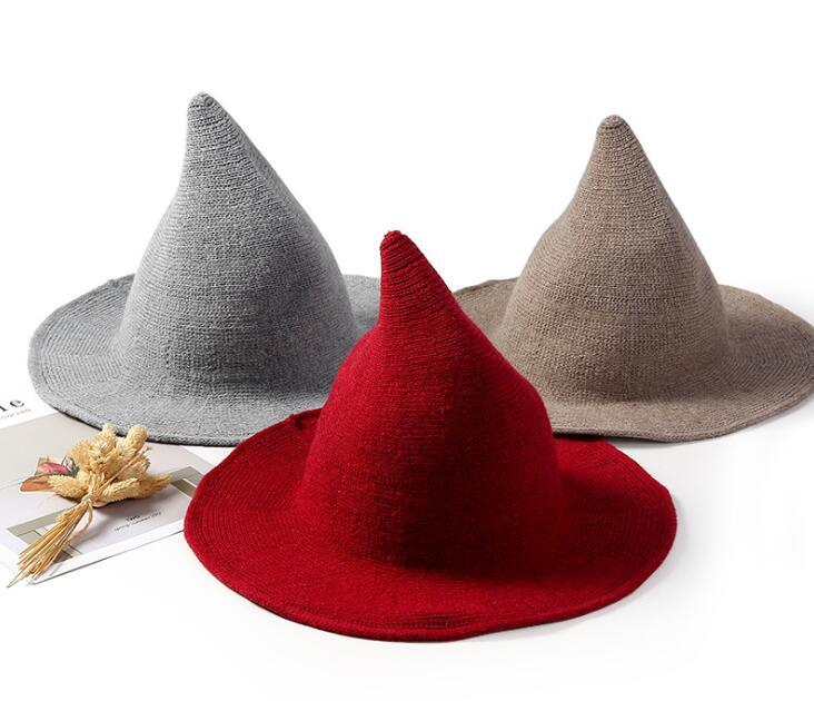 017bf56ad93 Modern Witch Hat Foldable Costume Sharp Pointed Wool Felt Halloween Warm  Autumn Winter Cap Valentine S Day Gift Girlfriend Gifts Ladybug Party  Supplies Led ...