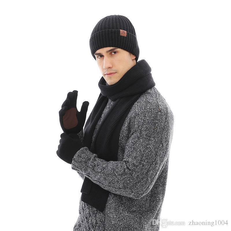 57f34907ae9 Designer Three Suits Autumn WinterScarves Hat Gloves Set Men Women H Letter  Winter Warm Anti Slip Gloves Hat Glove Neckerchief Slouch Beanie Ski Hats  From ...