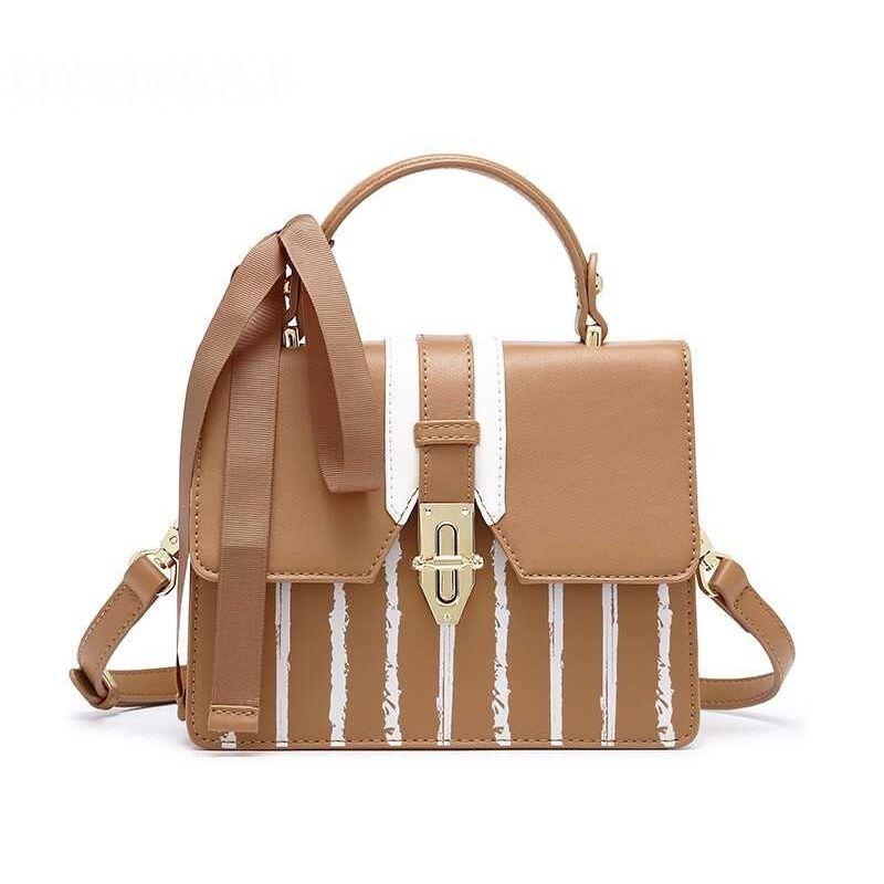 Handbags Striped Women Designer Handbags Leather With Ribbon Fashion Brand Bags  Female Small Shoulder Bags Crossbody Purple Handbags Brown Handbags From ... 3a9188d6d5d0b