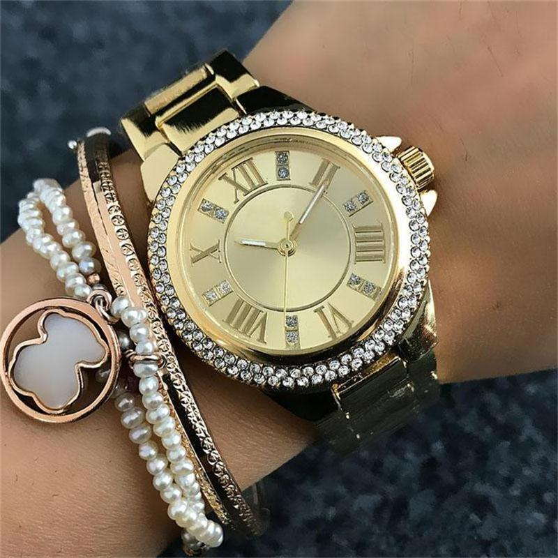 33 mm Roman alphabet Small size dial Women's Quartz Watches Luxury crystal inlay Clock dial Stainless steel Watchband Quartz Watches 66