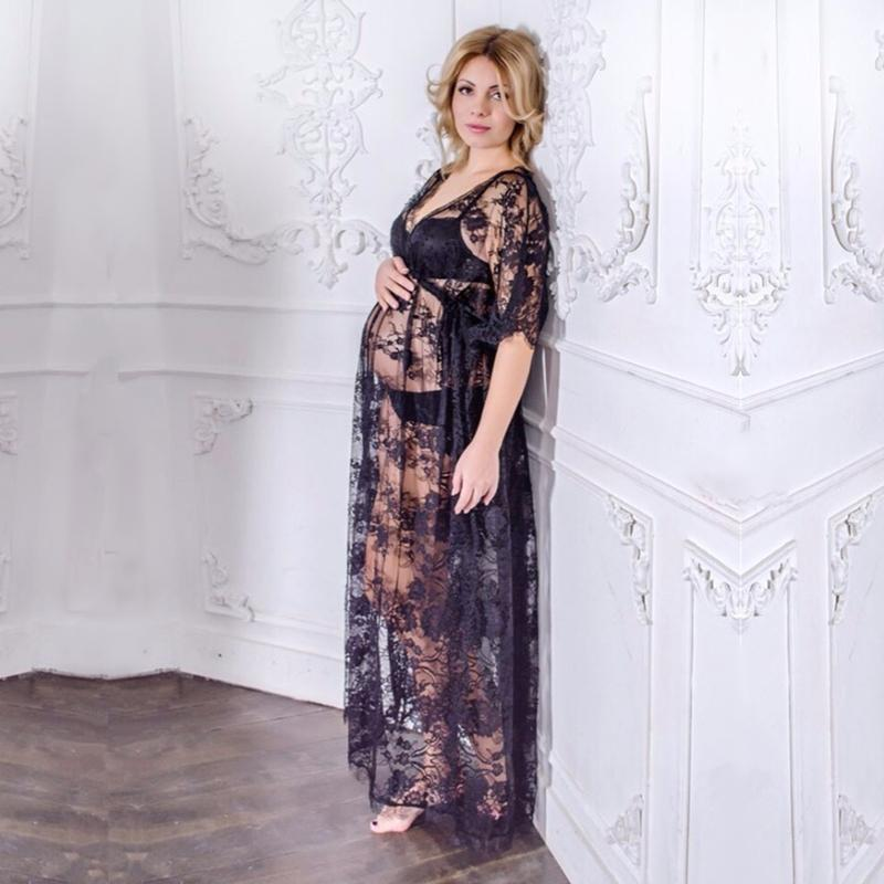 401b426bcf0 2019 Women Black Maternity Photography Props Lace Dress Studio Clothing  Sweet Gift Free Size Elegant Fancy Pregnancy Photo Shoot From Qwinner