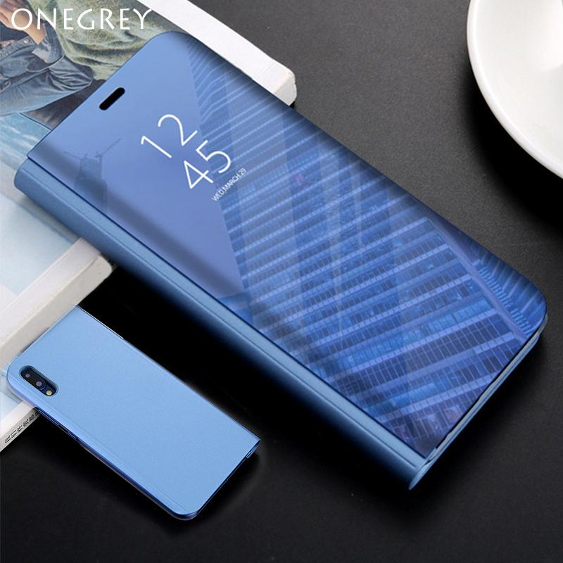 new concept 1ad88 e718a Touch Flip Stand Case For Huawei P20 P10 Mate 20lite 10 9 Pro P Smart  Mirror Cover For Hawei honor V10 P9 P8 lite Plus 2017 etui