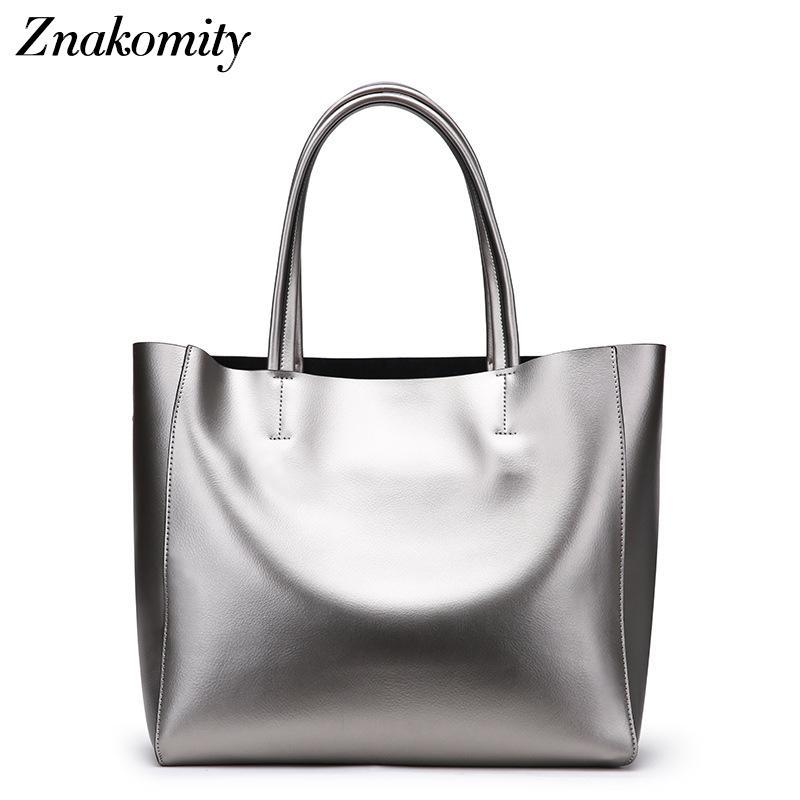 Znakomity Elegant Handbag Women Large Bucket Shoulder Bag Female High  Quality Genuine Leather Tote Bag Fashion Top Handle Reusable Grocery Bags  Womens ... d98d8cde88