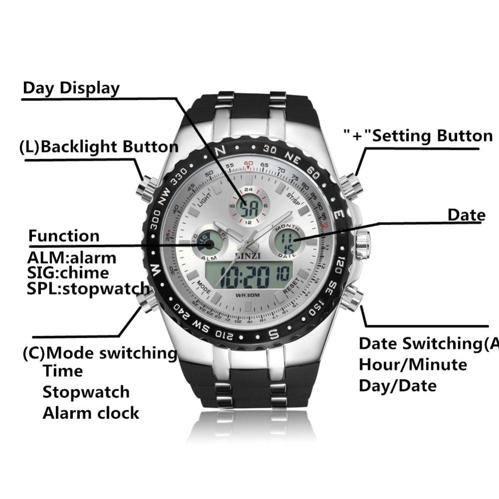 be18dcaf9ebb Compre Reloj BINZI Marca Reloj De Pulsera Deportivo De Lujo Relojes A  Prueba De Agua Relojes De Silicona LED Relojes Digitales Para Hombres Reloj  ...