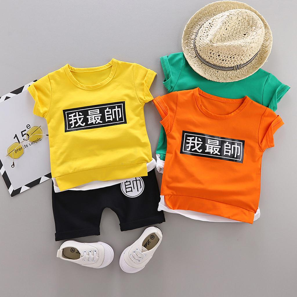summer style Baby Boy Clothes T shirt Tops Shorts Print chinese word Casual Fashion roupa infantil Sports Suit For Boy