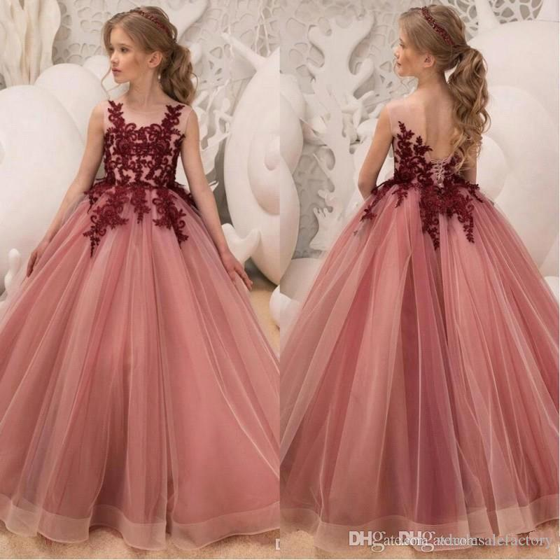 d21aa7407be 2019 New Lace A Line Flower Girls Dresses Jewel Neck Tulle Applique Party  Princess Kids Party Birthday Gowns BC0676 Girls Spring Dresses Gold Flower  Girl ...