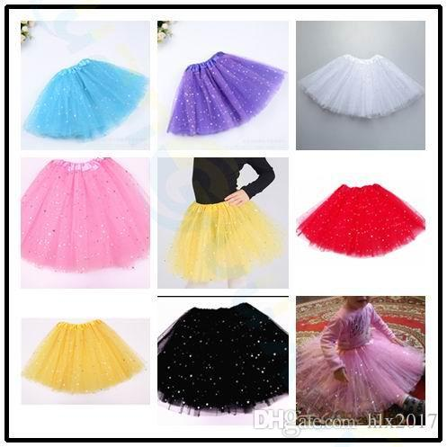 baby girls kids ballet dance skirt mesh pink tutu skirts shiny star pettiskirts sparkle girl petticoats performance Costumes