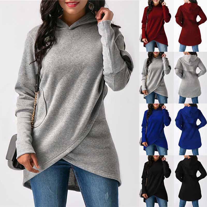 Hoodie Sweatshirt Damen Kapuzenpullover Asymmetrische