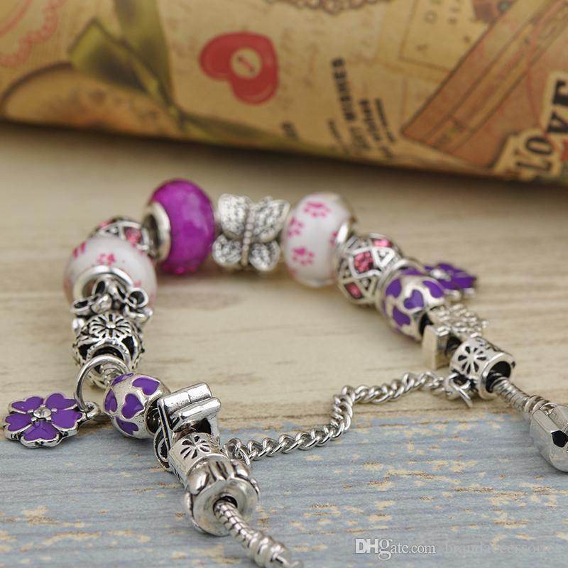 Lüks Kadınlar Charms Bilezik Fit Pandora Lampwork Murano Cam Kristal Boncuk Gümüş Ajur Damgalı Boncuklu Bileklik Petal Kolye P144