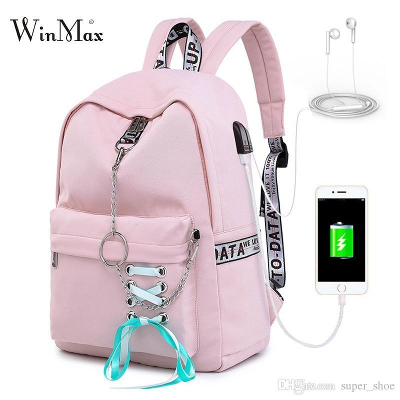 c536e018d 2019 Fashion Women Backpack USB Nylon Backpacks School Bags For Teenage  Girls Laptop Backpack Mochila Feminina Students Satchel #209027 Backpacks  Bags From ...