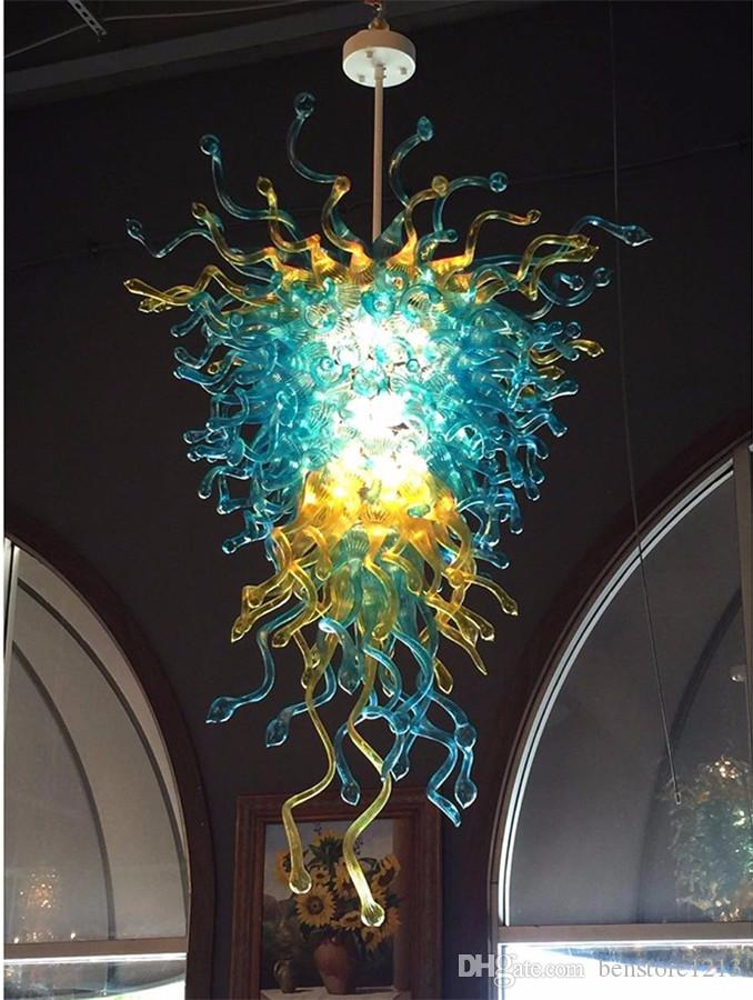 French Style Handmade Blown Glass Chandelier Blue and Amber Color Art Chandelier Lighting for Home Hotel Lobby Decor