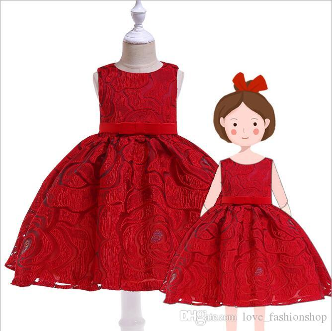 5f0899f9780 2019 2019 Summer Girls Lace Princess Dress Red Black Sleeveless Kids  Cosplay Costumes Ruffle Party Prom Dress Kids Designer Clothes Girls Cloth  From ...