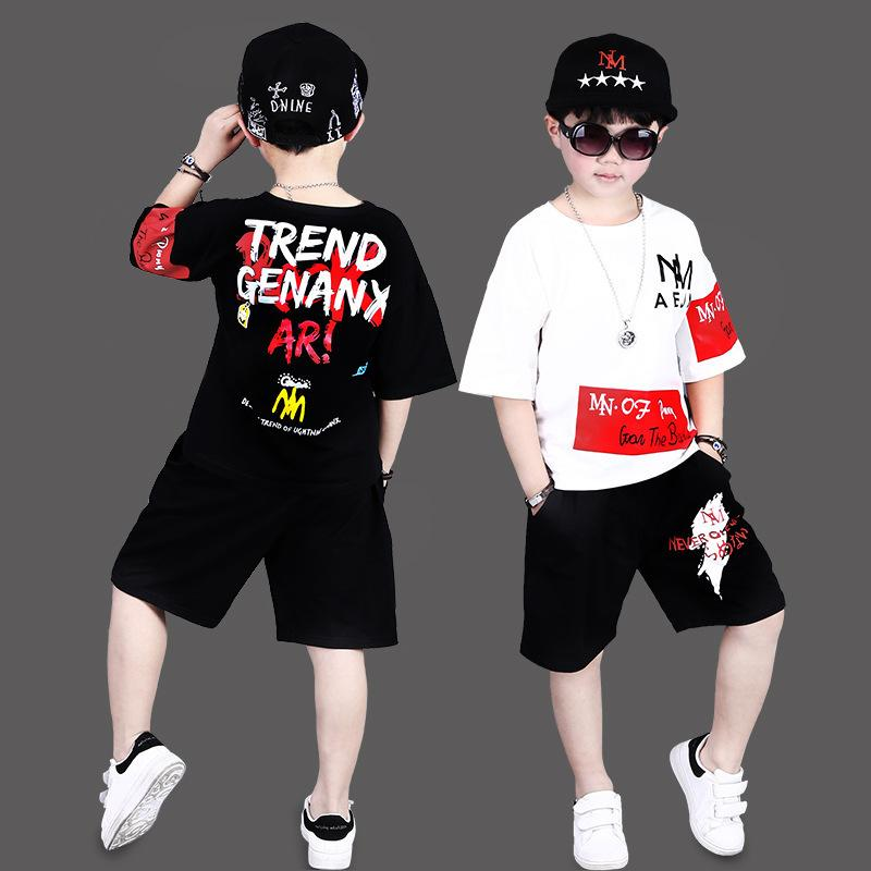 summer kids children sets 2019 new styles, summer thunderbolt hip-hop dress, big boy, pure cotton short sleeved suit.